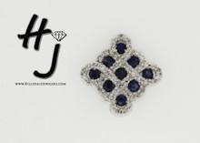 14 Karat White Gold .16 dtw Sapphire and Diamond Pendant