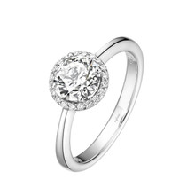 Sterling Silver Simulated Diamond with Simulated Diamond Halo Ring