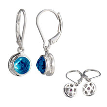 Sterling Silver Elle Synthetic Blue Corundum Leverbacks