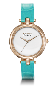 Ladies Eco Drive With Turquoise Band
