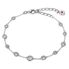 Elle Sterling Silver Checker Cut CZ Bracelet