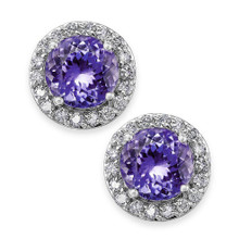 14 Karat White Gold Tanzanite Halo .10 DTW Stud Earrings