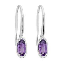 14 Karat White Gold Oval Amethyst & Diamond Dangle Earrings