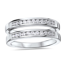 14k White Gold Channel Set Ring Guard 0.33 DTW