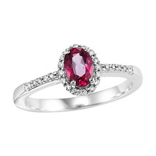 14k White Gold Oval Ruby & Diamond Halo Ring 0.16 DTW