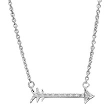 "Sterling Silver & Diamond Arrow Necklace 18"" Chain 0.04 DTW"