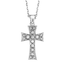 "Sterling Silver & Diamond Cross Necklace 18"" Chain 0.10 DTW"