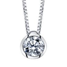 "14K White Gold Diamond Bezel Pendant 0.40 DTW w/18"" Box Chain"