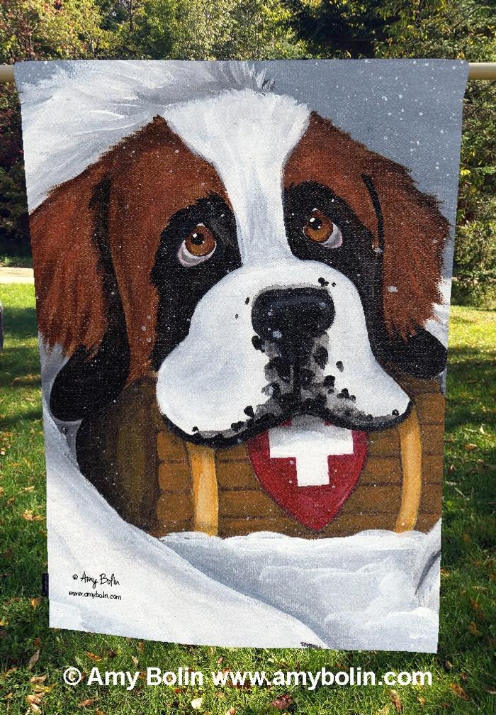 """""""Break Time"""" Saint Bernard Dog by Amy Bolin · House Flag"""