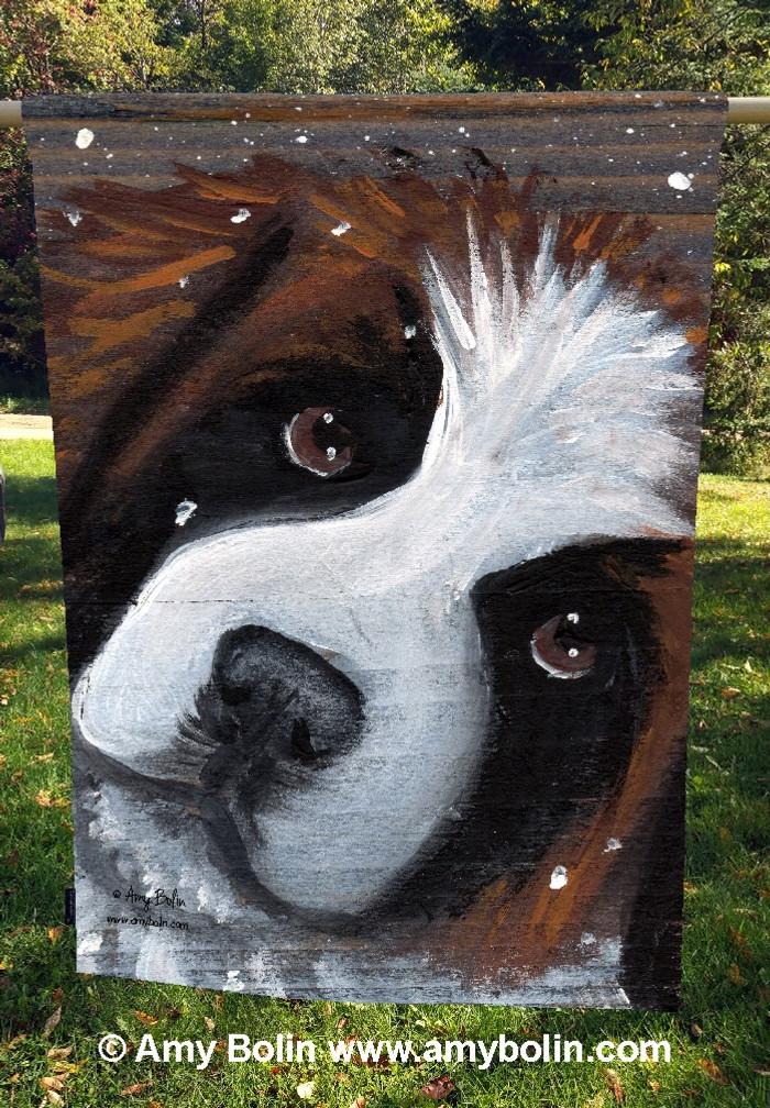 """""""My First Winter"""" Saint Bernard Dog by Amy Bolin · House Flag"""