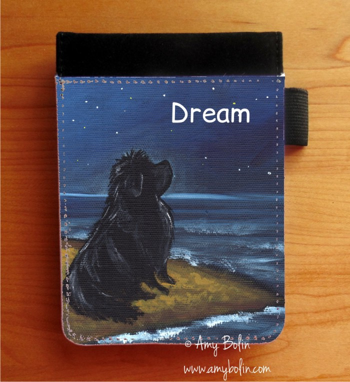 NOTEBOOKS (SEVERAL SIZES AVAILABLE) · DREAM · BLACK NEWFOUNDLAND · AMY BOLIN