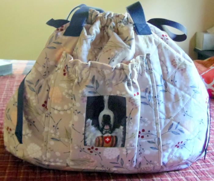 "Handmade quilted Hobo bag     ""Winter Rescue""      Saint Bernard        By Dawn Johnson"