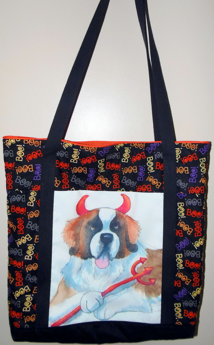 "Handmade quilted Purse/Tote      ""Lil Dickens""      Saint Bernard        By Dawn Johnson"