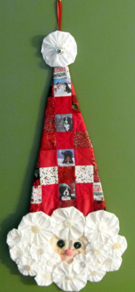 "Quilted/Handmade Santa wall hanging  ""Our Snowy Friend, Winter Buddies/Cardinal, Playful Pup, and Merry Merlin"" Bernese Mountain Dogs By Dawn Johnson"