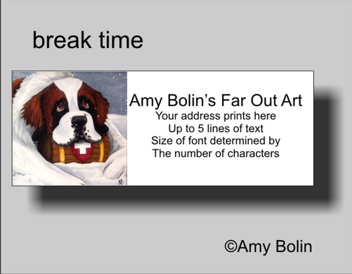 ADDRESS LABELS · BREAK TIME · SAINT BERNARD · AMY BOLIN