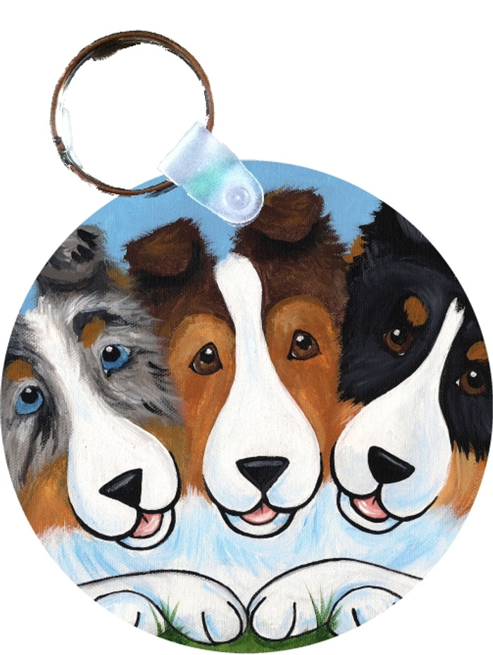 KEY CHAIN · BFF'S ·BLUE MERLE, SABLE, TRI COLOR, SHELTIE  · AMY BOLIN