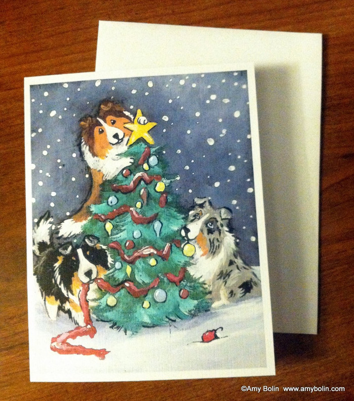 NOTE CARDS · CHRISTMAS TOGETHER · BLUE MERLE, SABLE, TRI COLOR SHELTIES · AMY BOLIN