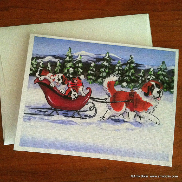 NOTE CARDS · A WINTRY RIDE · SAINT BERNARD · AMY BOLIN