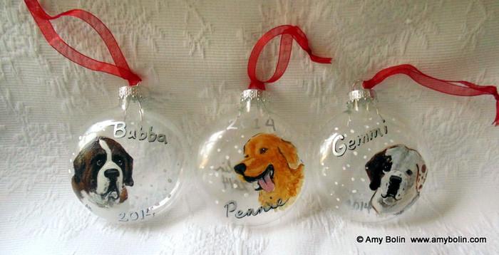 """CUSTOM Pet Portrait"" Hand Painted on a Glass Ornament · One Pet Per Ornament · Amy Bolin"