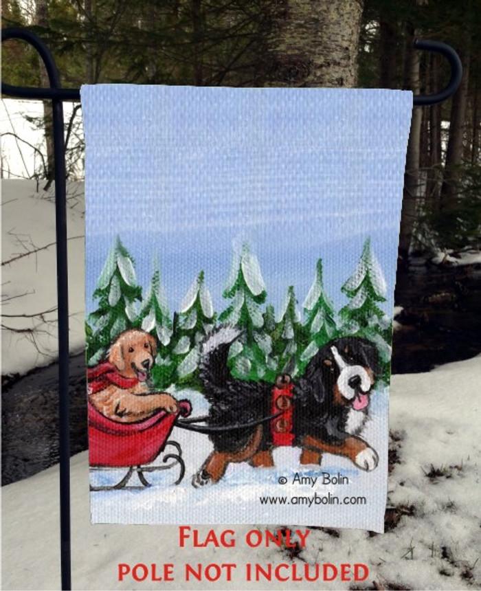 GARDEN FLAG · A WINTRY RIDE · BERNESE MOUNTAIN DOG, GOLDEN RETRIEVER · AMY BOLIN
