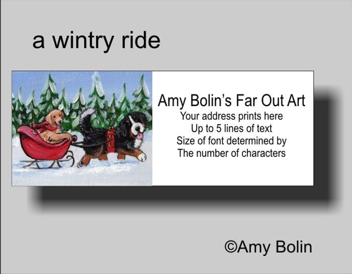 """A Wintry Ride"" Bernese Mountain Dog, Golden Retriever Address Labels"