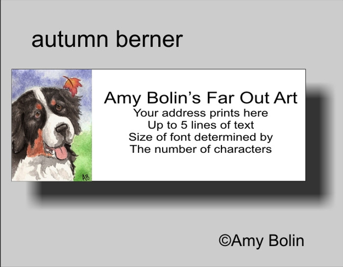 """Autumn Berner"" Bernese Mountain Dog Address Labels"