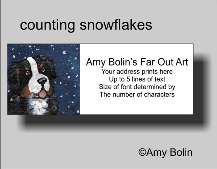 """""""Counting Snowflakes"""" Bernese Mountain Dog Address Labels"""