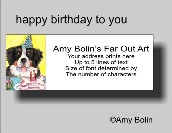 """""""Happy Birthday To You"""" Bernese Mountain Dog Address Labels"""