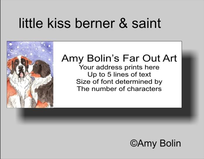 """""""Little Kiss"""" Bernese Mountain Dog, Saint Bernard Address Labels"""