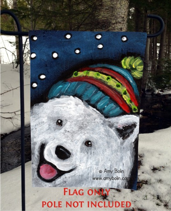 GARDEN FLAG · SNOWY WEATHER · SAMOYED · AMY BOLIN