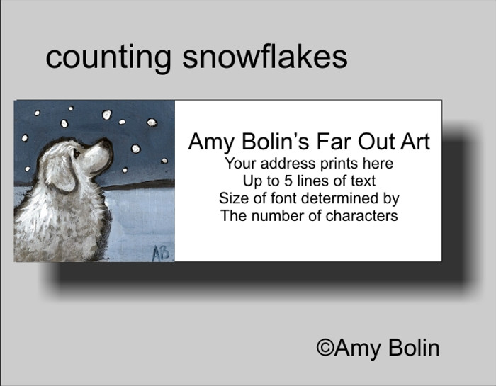 ADDRESS LABELS · COUNTING SNOWFLAKES · GREAT PYRENEES · AMY BOLIN