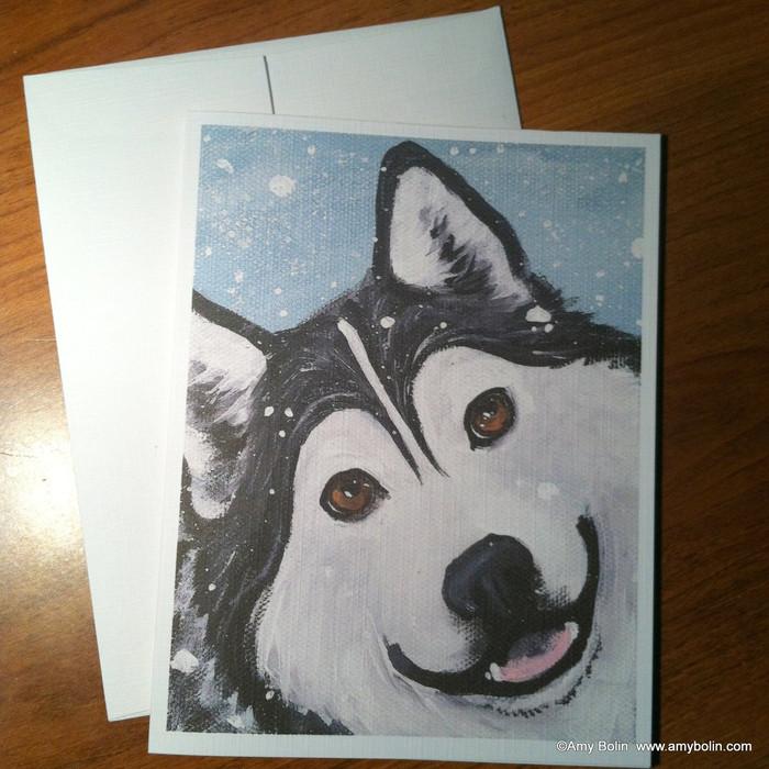 """That Mal Smile"" Alaskan Malamute Note Cards"