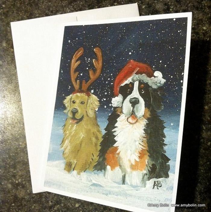 NOTE CARDS · CHRISTMAS BUDDIES · BERNESE MOUNTAIN DOG & GOLDEN RETRIEVER · AMY BOLIN