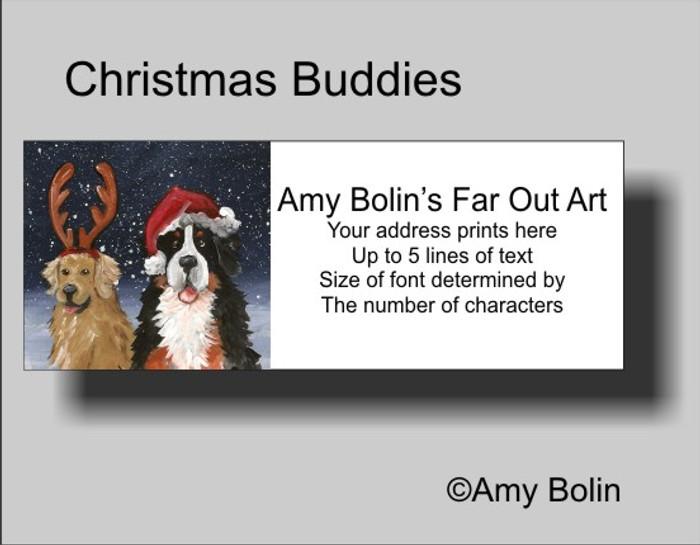 """""""Christmas Buddies"""" Bernese Mountain Dog, Golden Retriever Address Labels"""