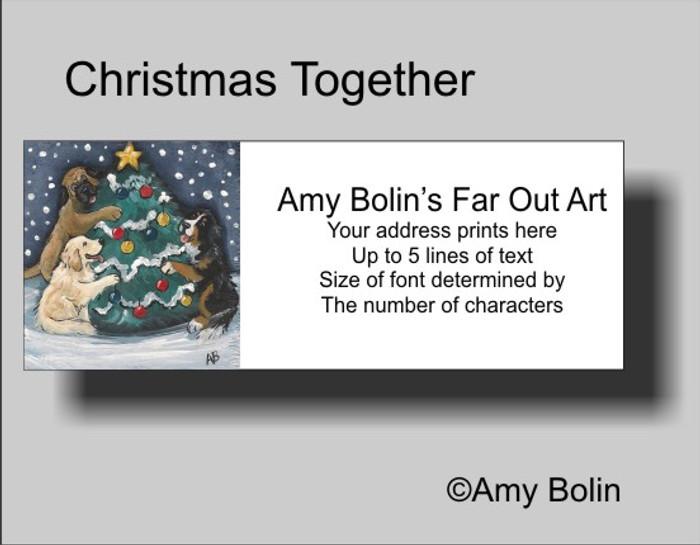 """Christmas Together"" Bernese Mountain Dog, Golden Retriever, Mastiff Address Labels"