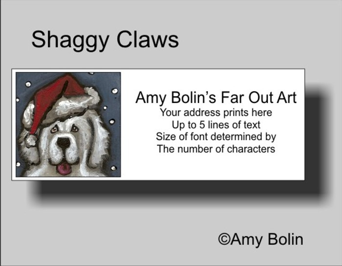 ADDRESS LABELS · SHAGGY CLAWS · GREAT PYRENEES · AMY BOLIN