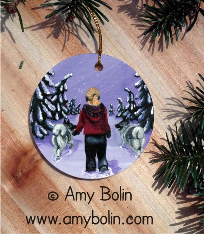 CERAMIC ORNAMENT · A SNOWY WALK · NORWEGIAN ELKHOUND · AMY BOLIN