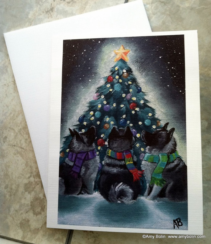 NOTE CARDS · CHRISTMAS TOGETHER · NORWEGIAN ELKHOUND · AMY BOLIN