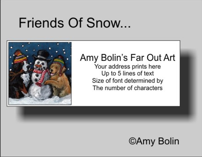 """Friends Of Snow Need Love To Grow"" Bernese Mountain Dog, Golden Retriever Address Labels"