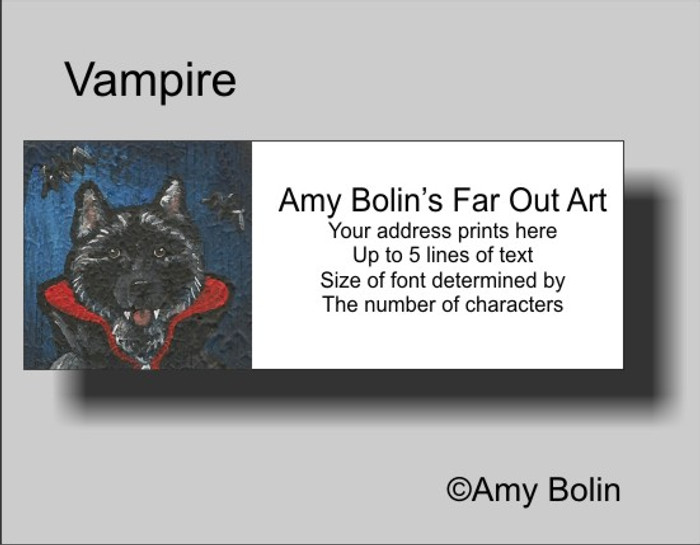 ADDRESS LABELS · VAMPIRE · NORWEGIAN ELKHOUND · AMY BOLIN