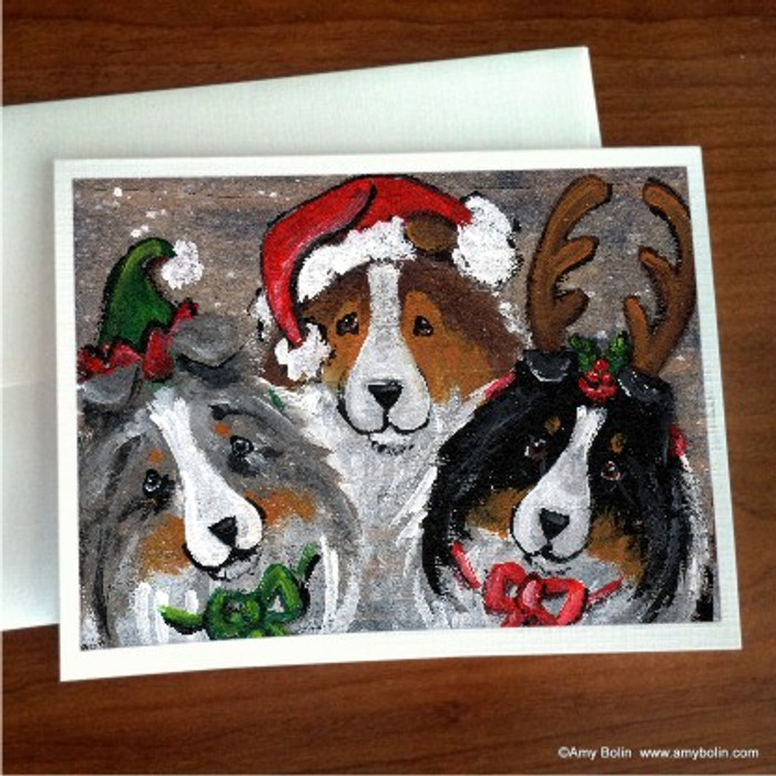 NOTE CARDS · CHRISTMAS BUDDIES · BLUE MERLE, SABLE, TRI COLOR SHELTIE · AMY BOLIN