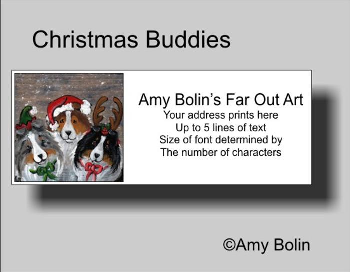 ADDRESS LABELS · CHRISTMAS BUDDIES · BLUE MERLE, SABLE, TRI COLOR SHELTIE · AMY BOLIN