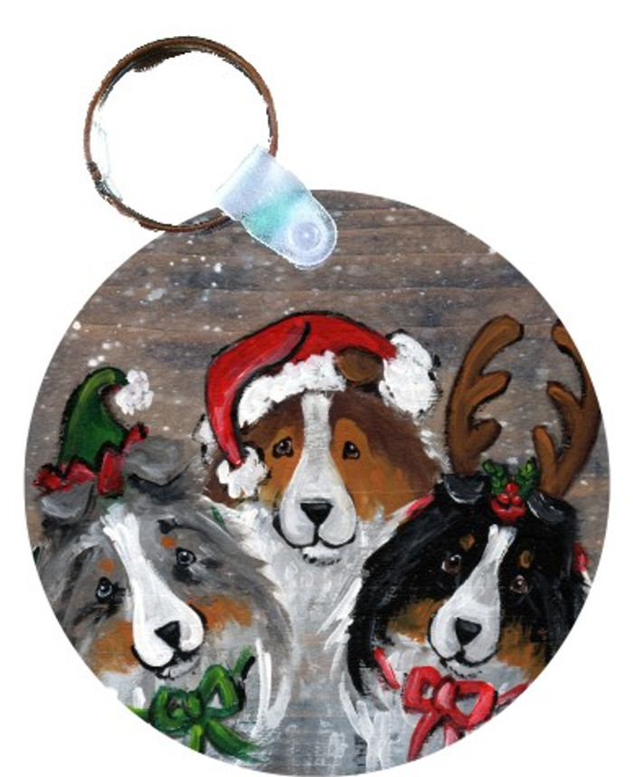 KEY CHAIN · CHRISTMAS BUDDIES · BLUE MERLE, SABLE, TRI COLOR SHELTIE · AMY BOLIN