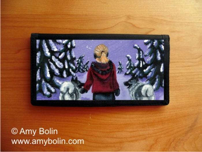 CHECKBOOK COVER · A SNOWY WALK · NORWEGIAN ELKHOUND · AMY BOLIN