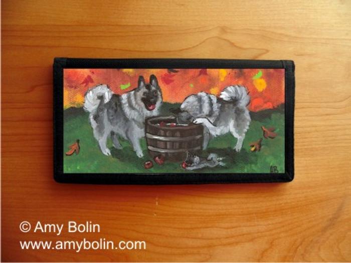 CHECKBOOK COVER · BOBBING FOR APPLES · NORWEGIAN ELKHOUND · AMY BOLIN
