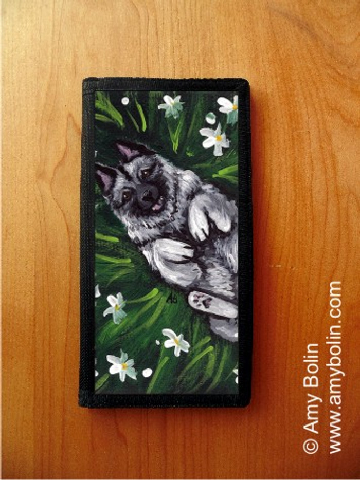 CHECKBOOK COVER · HAPPINESS IS A FIELD OF DAISIES · NORWEGIAN ELKHOUND · AMY BOLIN