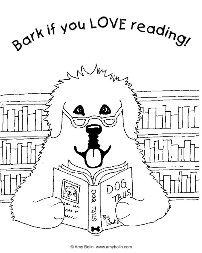 """FREE COLORING SHEET DOWNLOAD · """"Dog Tails Vol 2"""" BARK IF YOU LOVE READING · GREAT PYRENEES · AMY BOLIN"""