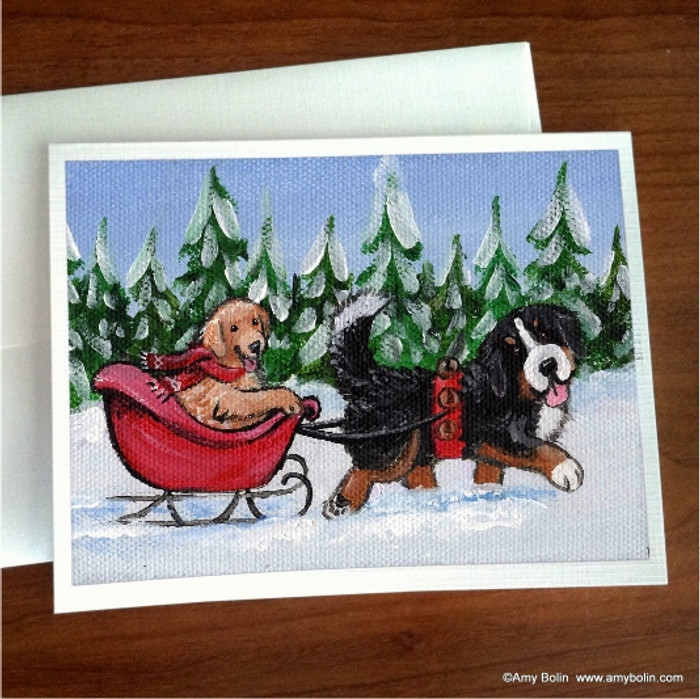 NOTE CARDS · A WINTRY RIDE · BERNESE MOUNTAIN DOG & GOLDEN RETIREVER · AMY BOLIN