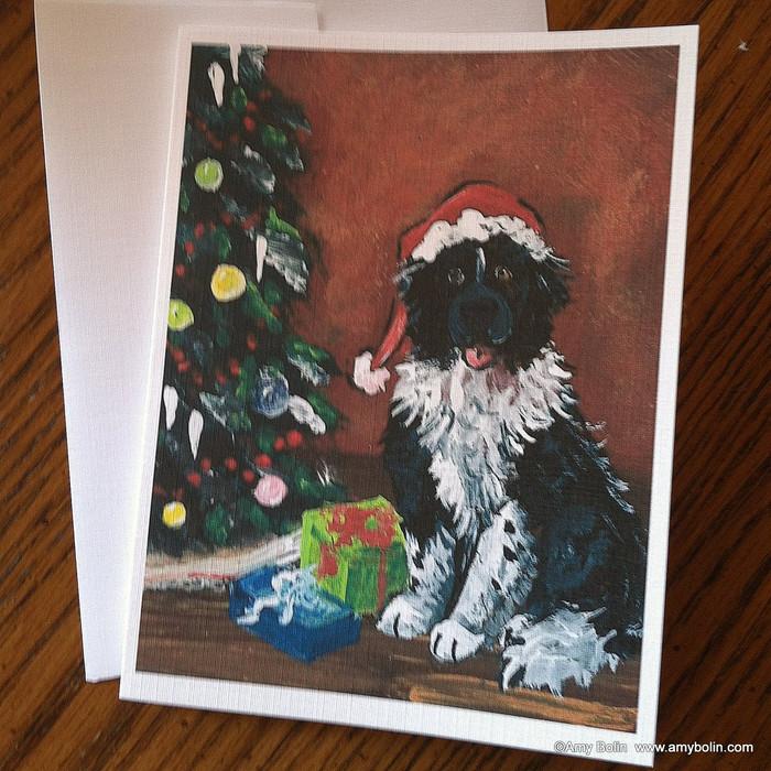 NOTE CARDS · MERRY CHRISTMAS · LANDSEER  NEWFOUNDLAND · AMY BOLIN