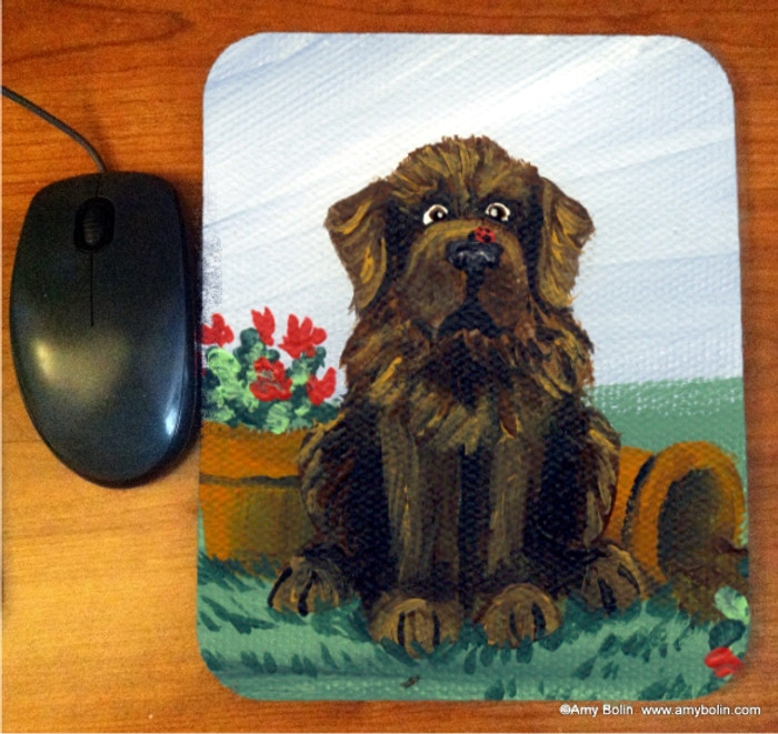 MOUSE PAD · A LITTLE VISITOR ·BROWN NEWFOUNDLAND · AMY BOLIN